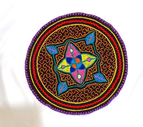 "AC13.13 Hand Embroidered Meditation Circle 7.75"""