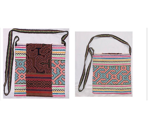 "GB25 Hand-Embroidered Shipibo Textile Bag 9.25"" x 8.5"""