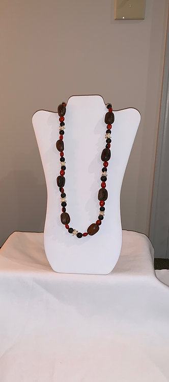 JN37 Bone, Huayruro, Seed, and Shell Necklace