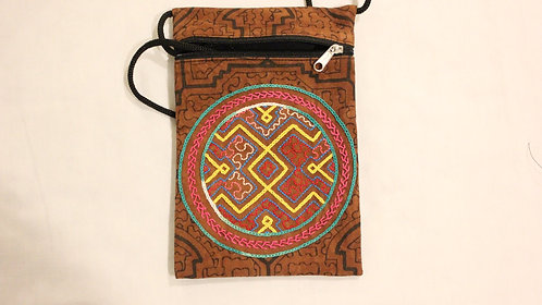 """GB53.10 Hand-Painted & Embroidered Shipibo Textile Bag, 4.5"""" x 7.5"""""""