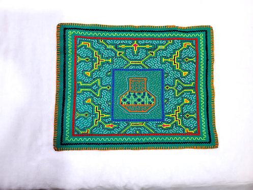 """AA72.4 Hand-Embroidered Ayahuasca Pot Altar Cloth 12.5""""x16"""""""