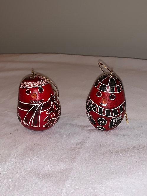 GO11 Snowman Gourd Ornament SM