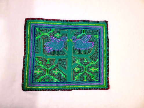 "AA72.3 Hand Embroidered ""Love Birds"" Altar Cloth 12.5""x15"""