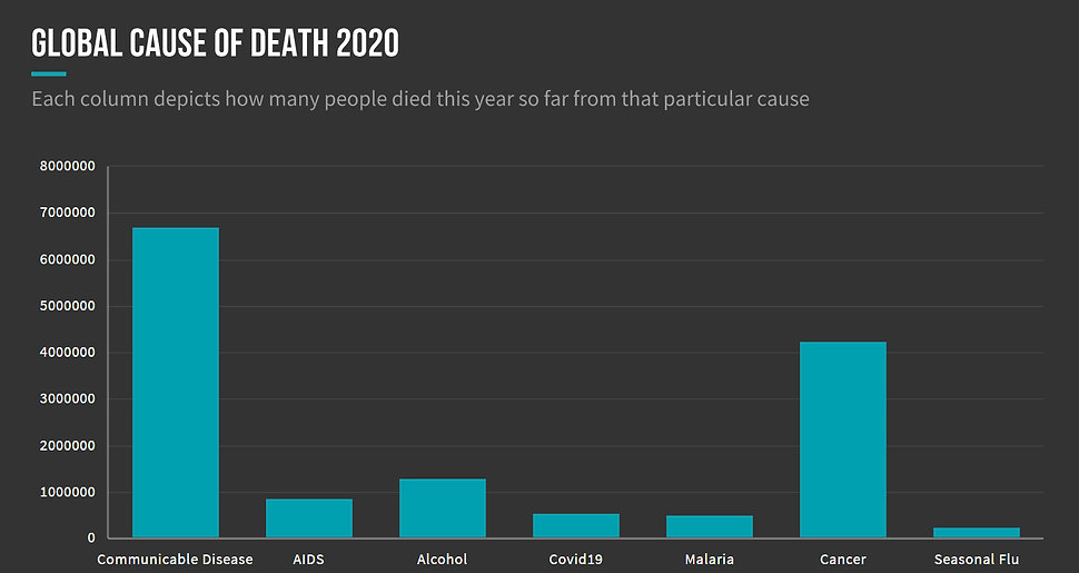 Global causes of death compared to Covid19