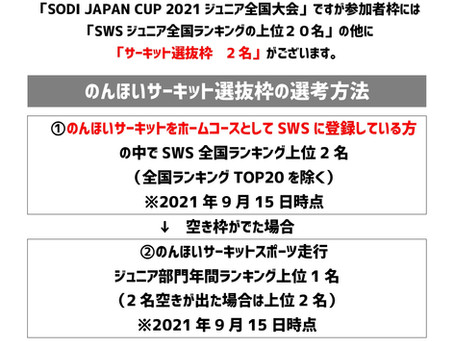 SODI JAPAN CUP2021ジュニア全国大会