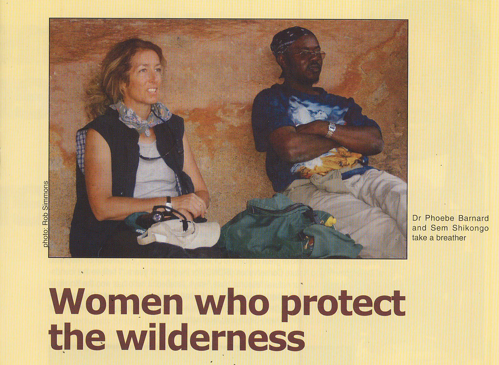 Phoebe and Sem take a breather in the Erongo Mountains. Photo: R Simmons in a Sister Namibia article by Maggi Barnard.