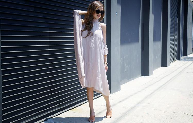 Laura Siegel silk dress, madewell greer mule sandals