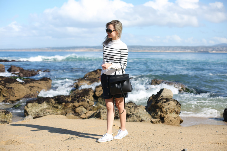 Love Between the Racks - Lina Dinh - Monterey Bay, stripe sweater, denim skirt, converse sneakers, Mansur Gavriel lady bag 3 copy