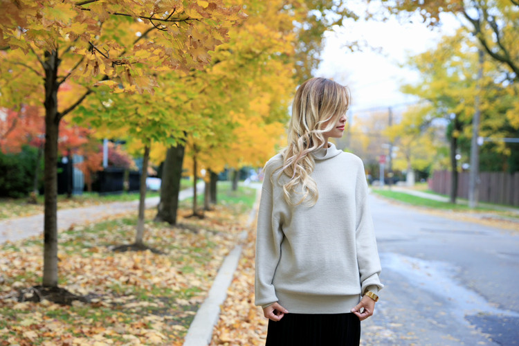 love between the racks lina dinh - aritzia wilfred sweater, pleated skirt 11