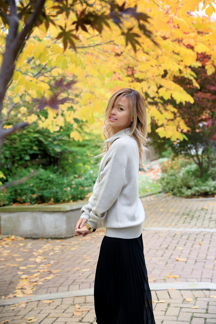 love between the racks lina dinh - aritzia wilfred sweater, pleated skirt 3