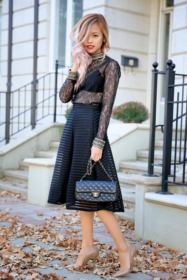 Love Between the Racks - Lina Dinh - Topshop lace top & TFNC mesh skirt 3
