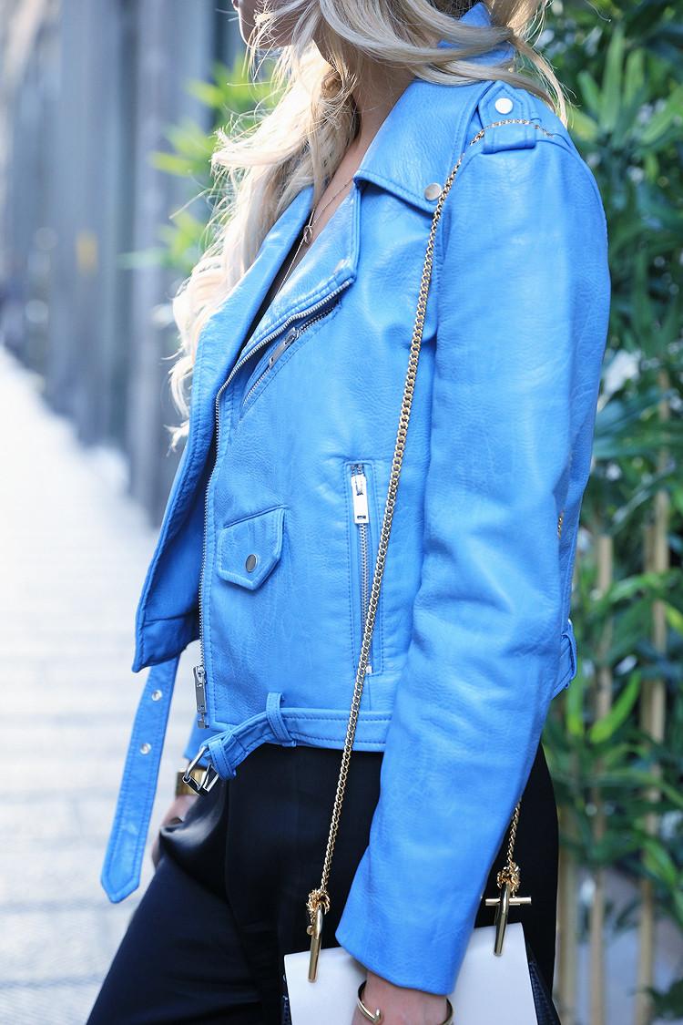 Love Between the Racks - Fashion Blogger - Bershka jumpsuit, blue leather jacket 3