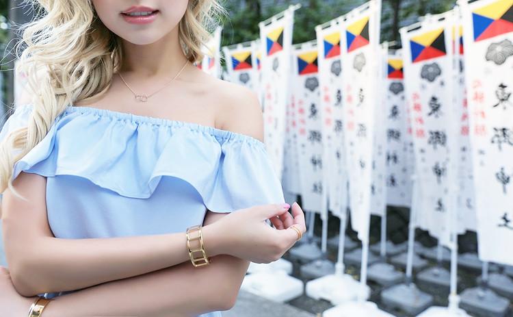 Love Between the Racks in Harajuku, Japan - Club Monaco off-the-shoulder dress, Mansur Gavriel lady bag2891