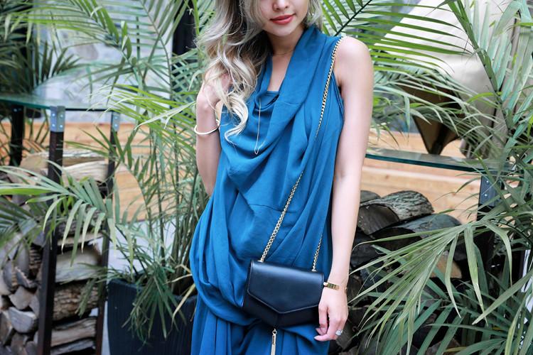 Laura Siegel silk dress, Sandro PM bag, Stuart Weitzman nudist