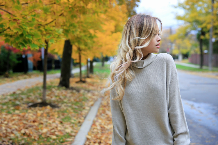 love between the racks lina dinh - aritzia wilfred sweater, pleated skirt