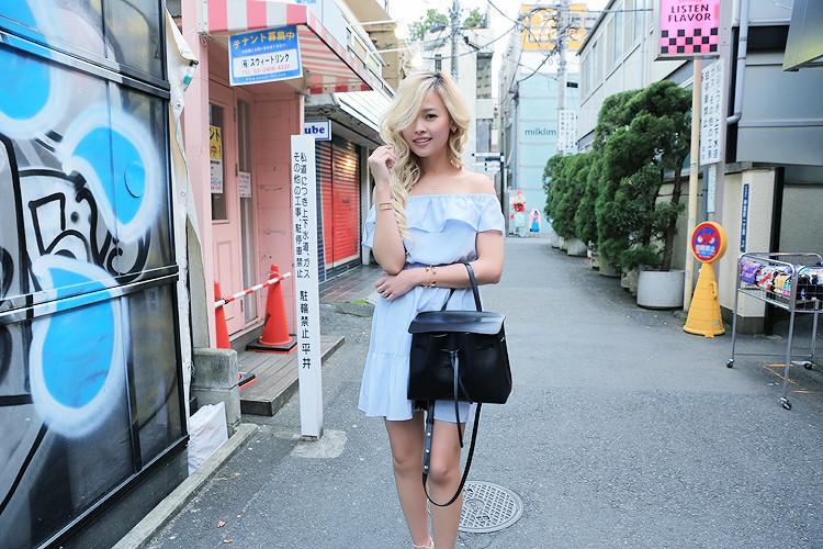 Love Between the Racks in Harajuku, Japan - Club Monaco off-the-shoulder dress, Mansur Gavriel lady bag2862