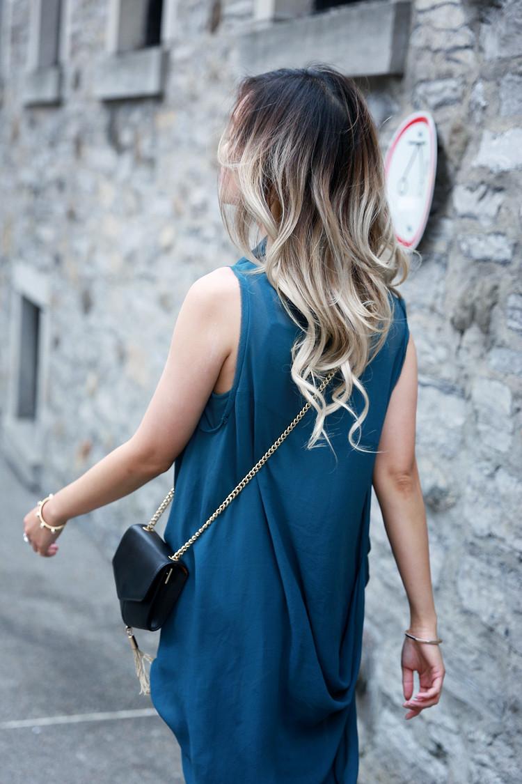Laura Siegel silk dress, Sandro PM bag