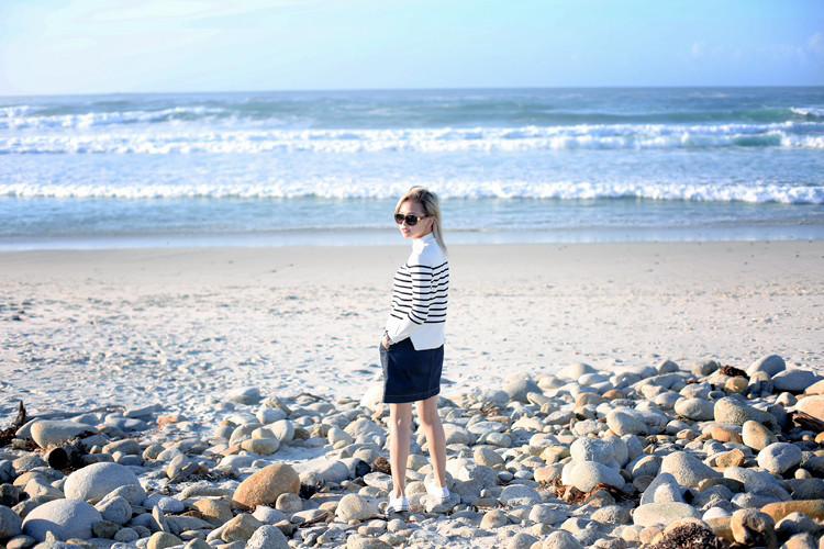 Love Between the Racks - Lina Dinh - Monterey Bay, stripe sweater, denim skirt, converse sneakers, Mansur Gavriel lady bag 5 copy