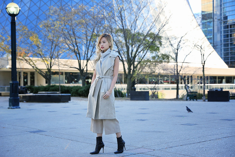 Love Between the Racks Lina Dinh OOTD Sleeveless coat, tonal dressing 11