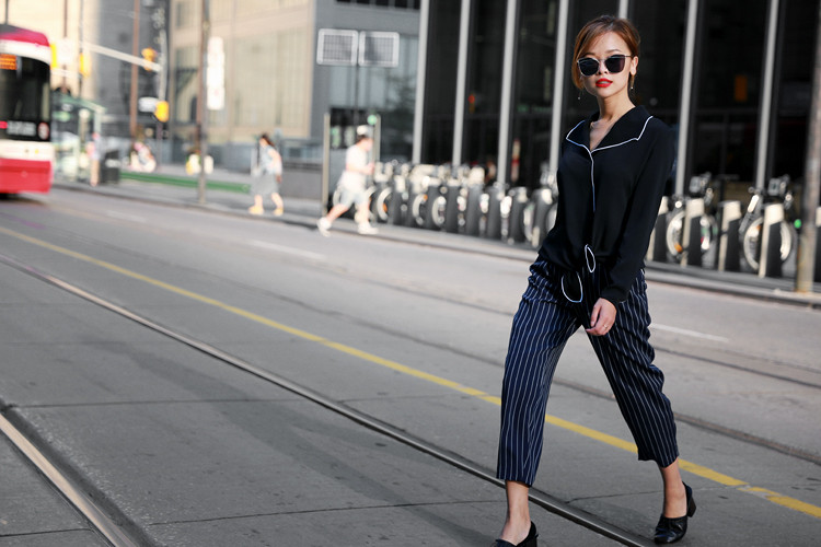 Love Between the Racks - Aritzia Rena blouse & stripe pants, Celine pumps4