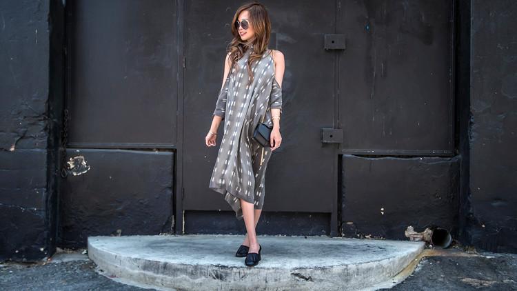 Laura Siegel cold shoulder silk dress, Celine pumps, Sandro PM bag