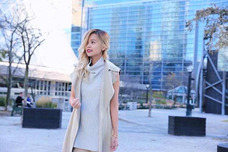 Love Between the Racks Lina Dinh OOTD Sleeveless coat, tonal dressing 6