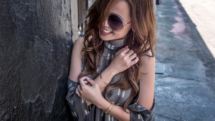 Laura Siegel cold shoulder silk dress