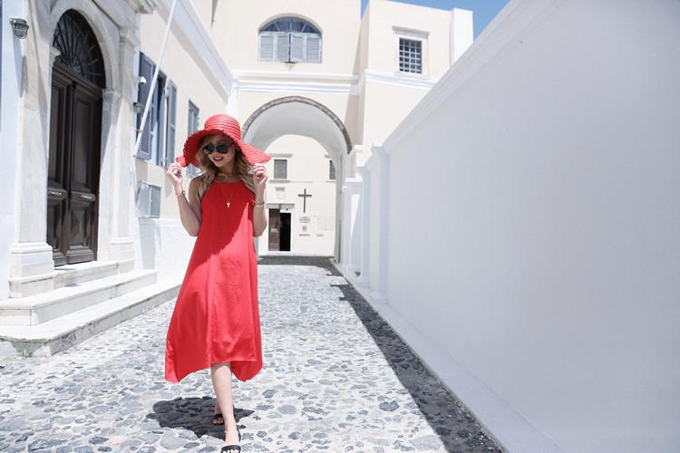 Love Between the Racks X Santorini, Greece - Club Monaco dress & Zara floppy hat 3