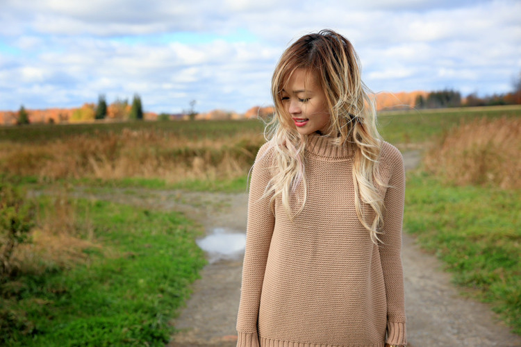 Love Between the Racks Lina Dinh Camel sweater & faux leather skirt 5