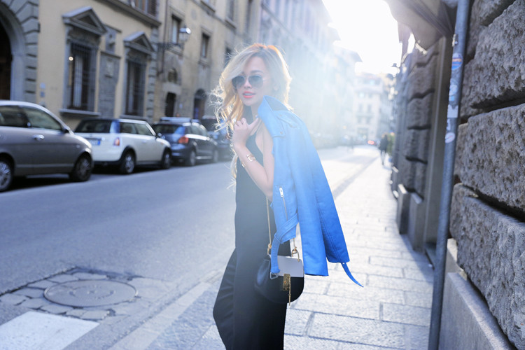 Love Between the Racks - Fashion Blogger - Bershka jumpsuit, blue leather jacket