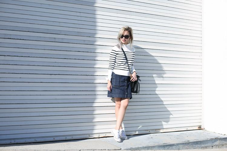 Love Between the Racks - Lina Dinh - Monterey Bay, stripe sweater, denim skirt, converse sneakers, Mansur Gavriel lady bag 2