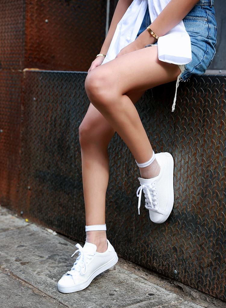 zara multi purpose shirt, denim skirt, adidas stan smith