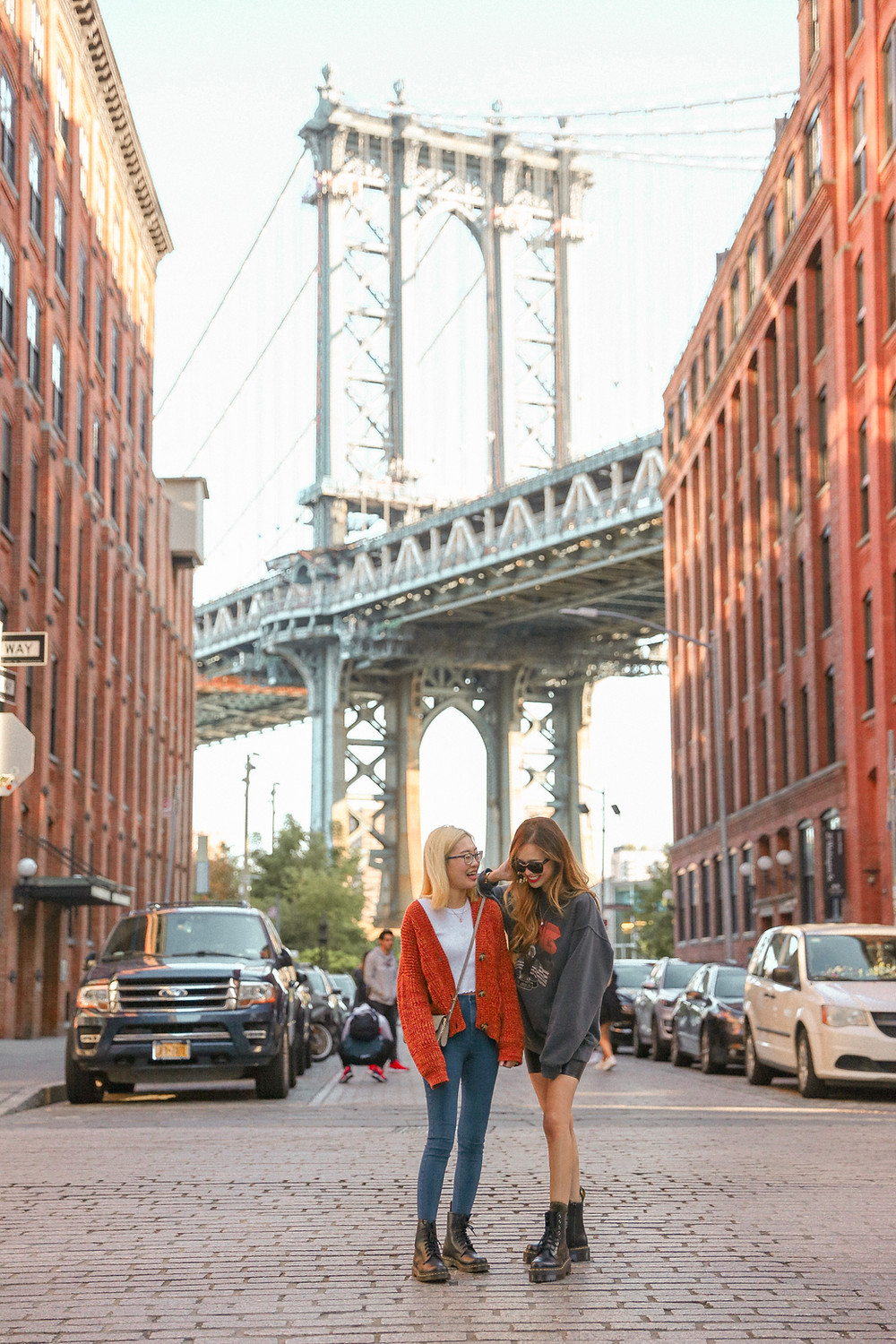 two girls in the middle of the streets of Dumbo