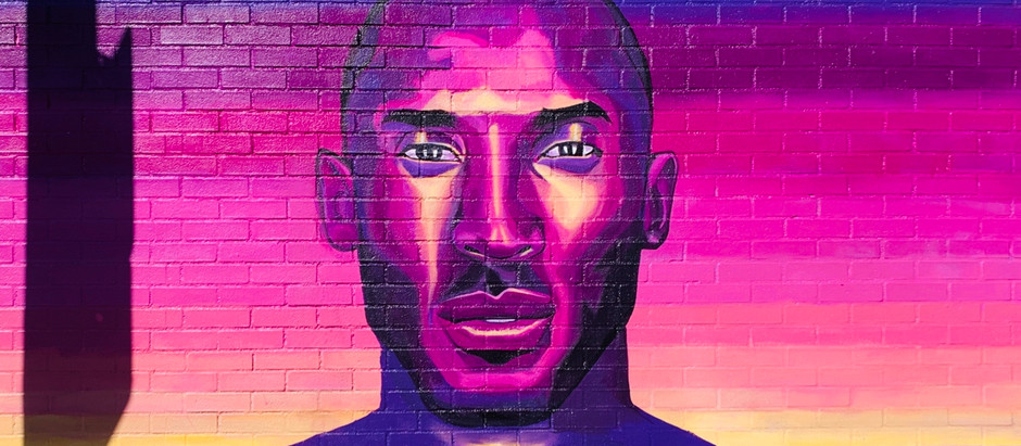 Kobe Bryant mural walls on Melrose Ave, Los Angeles