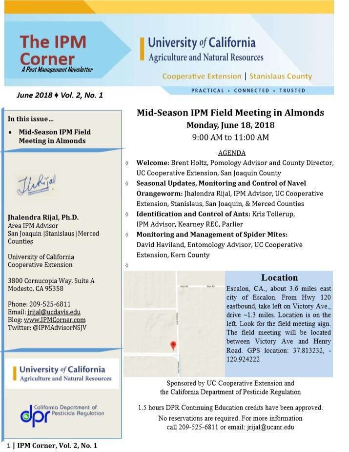 IPM Field Meeting June 18, Escalon