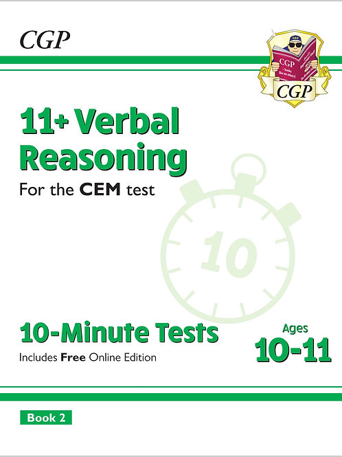 11+ CEM 10-Minute Tests: Verbal Reasoning - Ages 10-11 Book 2 (with Online Ed)