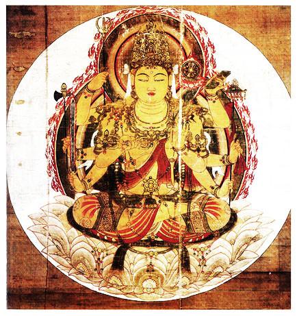 Mahapratisara a golden goddess with eight arms, the original wonder woman