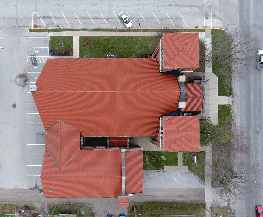 First United Presbyterian Church, aerial drone picture, roof inspection