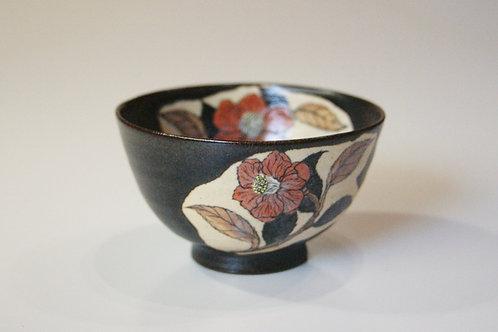 黒釉碗 椿