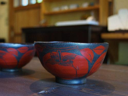 黒釉赤絵柿文麺鉢