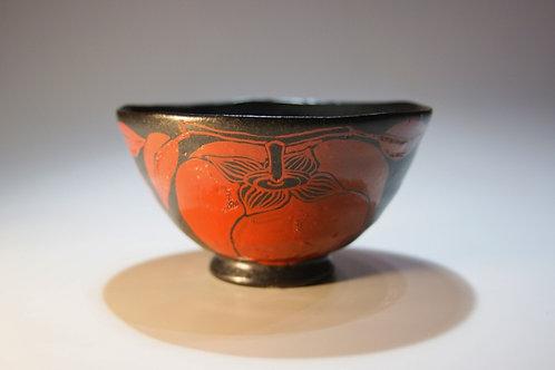 黒釉赤絵柿文飯碗(柿碗)