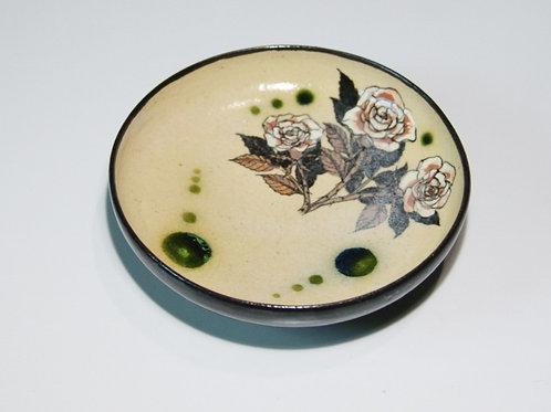 丸小皿 薔薇