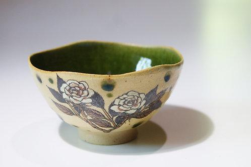 織部飯碗 薔薇