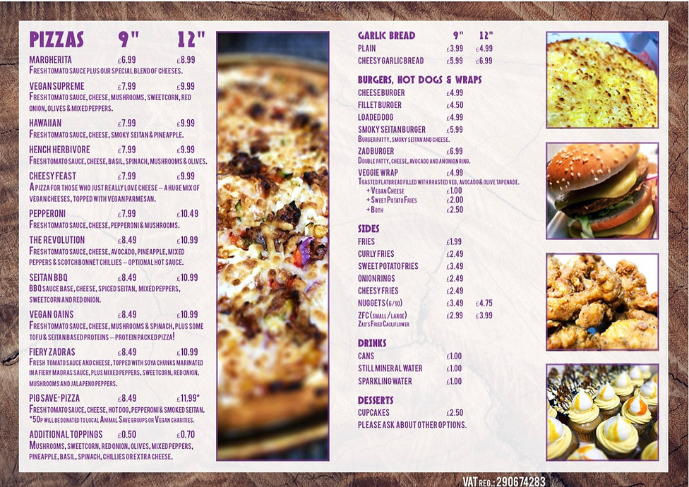 Zad's Guilt Free takeaway menu in Manchester