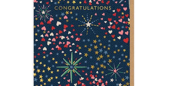Congratulations Fireworks (Portrait) Greeting Card