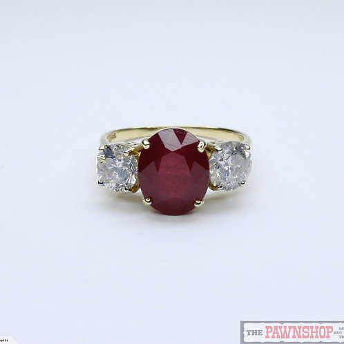 Modern 5.26ct Ruby and Diamond Ring