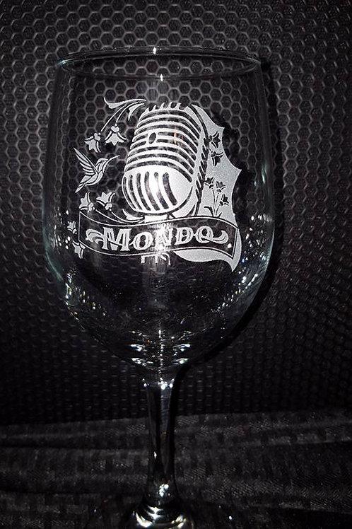 Mondo Mic Logo Wine Glass