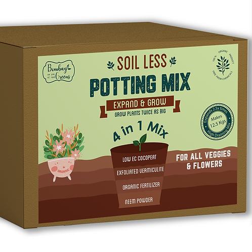4 in 1 Soil less Potting Mix with Cocopeat, Vermiculite,Neem Powder & Fertilizer