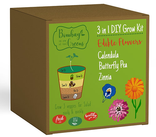 Edible Flowers Kit - Zinnia, Calendula, Butterfly Pea