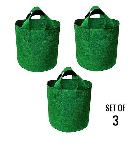Geo Fabric Grow Bags 350 GSM - Green (Set of 3)